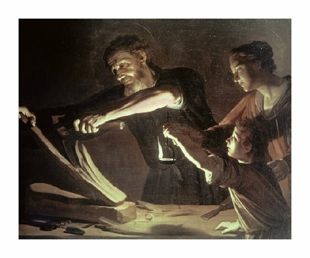 """Gerrit Van Honthorst Fine Art Open Edition Giclée:""""Holy Family in the Carpentry Shop"""""""