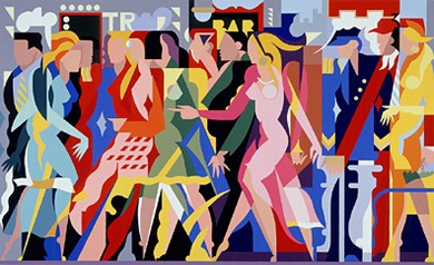 """Giancarlo Impiglia Limited Edition Serigraph on Paper: """" The Crowd """""""