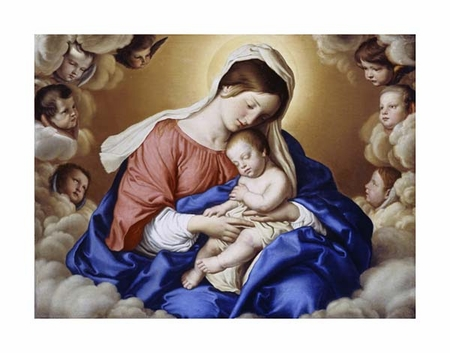 "Giovanni Battista Salvi Fine Art Open Edition Giclée:""The Madonna and Child in Glory with Cherubs"""