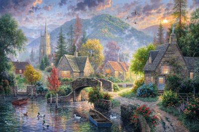 """Abraham Hunter Hand Signed and Numbered Limited Edition Embellished Canvas Giclee:""""Mountain Village"""""""