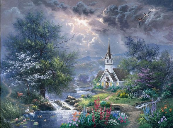 "Abraham Hunter Hand Signed and Numbered Limited Edition Embellished Canvas Giclee:""Sweet Hour of Prayer"""