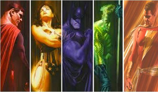 """Alex Ross Signed Matching Numbered Limited Edition Giclee on Deckled Edged Paper:""""Shadows Suite of 5"""""""