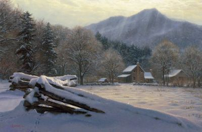 """Mark Keathley Artist Hand Signed Limited Edition Embellished Canvas Giclee:""""Winter Rest"""""""