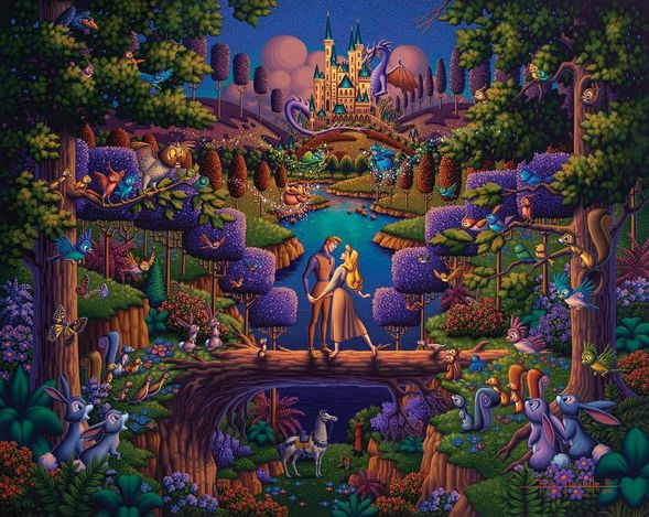 """Eric Dowdle Artist Signed Limited Edition Giclee Print:""""Sleeping Beauty - The Power of Love"""""""