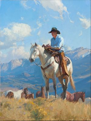"""Bill Anton Hand Signed and Numbered Limited Edition Canvas Giclee:""""Cowboy Poetry"""""""