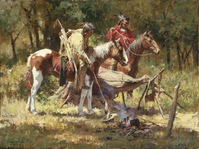 """Howard Terpning Artist Signed Limited Edition Canvas Giclee:"""" Hasty Retreat"""""""