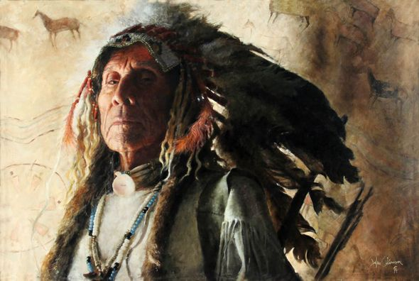 """John Coleman Hand Signed Limited Edition Canvas Giclee:""""First Chief"""""""