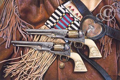 """John Paul Strain Hand Signed and Numbered Limited Edition Giclee:""""Colonel Custer's Colts"""""""