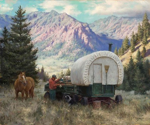 "Scott Tallman Powers Artist Signed Limted Edition Canvas Giclee:"" Provisions for His Partners"""
