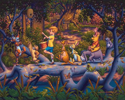"""Eric Dowdle Artist Signed Limited Edition Giclee Print:""""Winnie the Pooh - A Heroes Parade"""""""