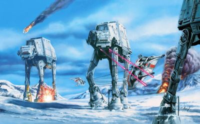 "Claudio Aboy Star Wars Limited Edition Canvas Giclee:""Hoth Battle"""