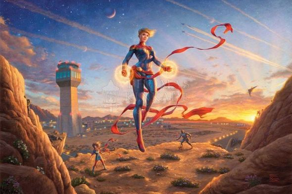 "Thomas Kinkade Studios Limited Edition Marvel Fine Art Giclee:""Captain Marvel – Dawn of A New Day"""