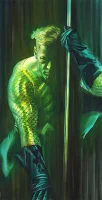 """Alex Ross Signed Limited Edition Giclee on Deckled Edged Paper:""""Shadows:Aquaman"""""""