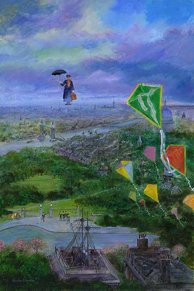 """Harrison Ellenshaw Artist Signed and Numbered Limited Edition Hand-Textured Giclée on Canvas :""""Lets Go Fly a Kite"""""""