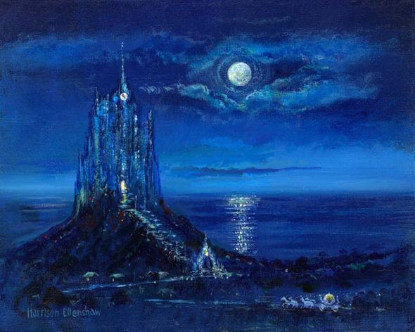 "Harrison Ellenshaw Handsigned and Numbered Limited Edition Disney Fine Art Canvas Giclee:""Cinderella's Moonlit Arrival"""