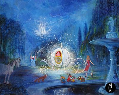 """Harrison Ellenshaw Handsigned and Numbered Limited Edition Embellished Giclee on Canvas: """"A Dream is a Wish Your Heart Makes"""""""