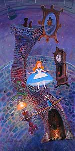 "Harrison Ellenshaw Handsigned and Numbered Limited Edition Embellished Giclee on Canvas: ""Alice Floating Into Wonderland"""