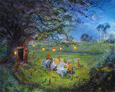 """Harrison Ellenshaw Handsigned and Numbered Limited Edition Embellished Giclee on Canvas: """"Pooh's 80th - Garden Party """""""
