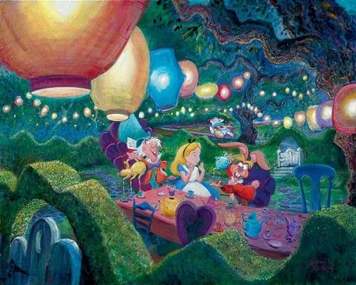 "Harrison Ellenshaw Handsigned and Numbered Limited Edition Giclee on Canvas: ""Alice in Wonderland - Mad Hatter"""