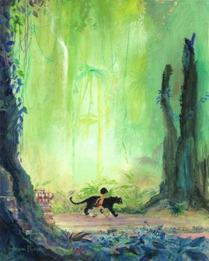 "Harrison Ellenshaw Signed and Numbered Giclée on Canvas: ""Mowgli and Bagheera"""