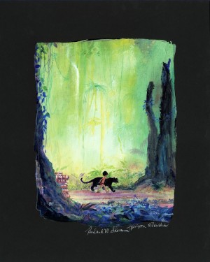 """Harrison Ellenshaw Signed and Numbered H/E Ciarograph on Paper: """"Mowgli and Bagheera"""""""