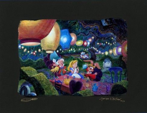 """Harrison Ellenshaw Signed and Numbered Limited Edition: """"Mad Hatter's Tea Party"""""""
