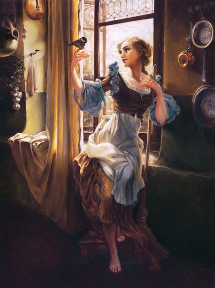 """Heather Theurer Hand-Signed and Numbered Limited Edition Hand-Embellished Textured Canvas Giclee:""""Cinderella's New Day"""""""