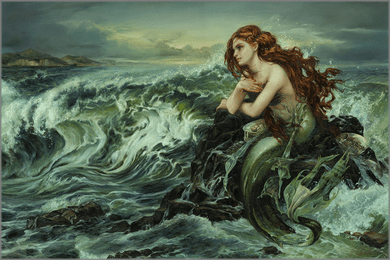 """Heather Theurer Hand-Signed and Numbered Limited Edition Hand-Embellished Textured Canvas Giclee:""""Drawn to the Shore"""""""
