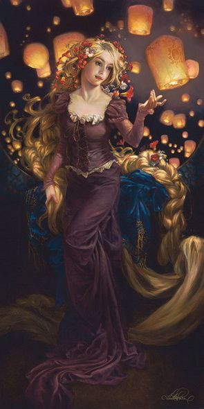 """Heather Theurer Hand-Signed and Numbered Limited Edition Hand-Embellished Textured Canvas Giclee:""""I See the Light - Tangled """""""