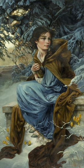 """Heather Theurer Hand-Signed and Numbered Limited Edition Hand-Embellished Textured Canvas Giclee:""""Love Blooms in Winter - Beauty and the Beast"""""""