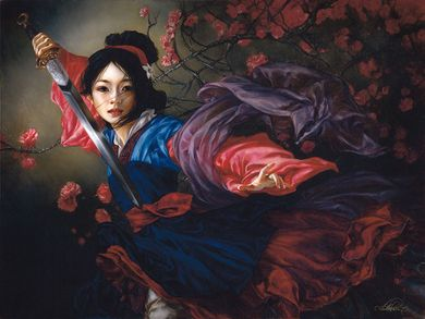 "Heather Theurer Hand-Signed and Numbered Limited Edition Hand-Embellished Textured Canvas Giclee:""The Elegant Warrior - Mulan"""