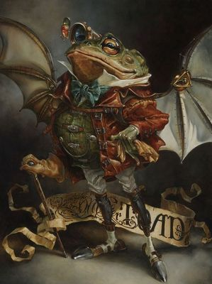 "Heather Theurer Hand-Signed and Numbered Limited Edition Hand-Embellished Textured Canvas Giclee:""The Insatiable Mr. Toad"""