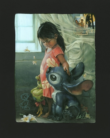 """Heather Theurer Remarque Limited Edition Chiarograph on Black Paper:""""Ohana Means Family  *FREE Custom Framing Included*"""""""