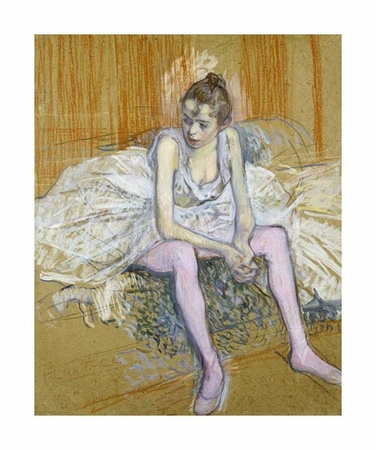 "Henri Toulouse-Lautrec Fine Art Open Edition Giclée:""A Seated Dancer with Pink Stockings"""