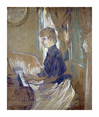 """Henri Toulouse-Lautrec Fine Art Open Edition Giclée:""""At the Piano, Madame Juliette Pascal in the Salon of the Malrome Palace"""""""