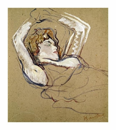 "Henri Toulouse-Lautrec Fine Art Open Edition Giclée:""Woman Sleeping on the Back"""