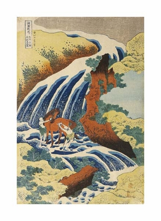 "Hokusai Fine Art Open Edition Giclée:""Two Men Washing a Horse in a Waterfall"""