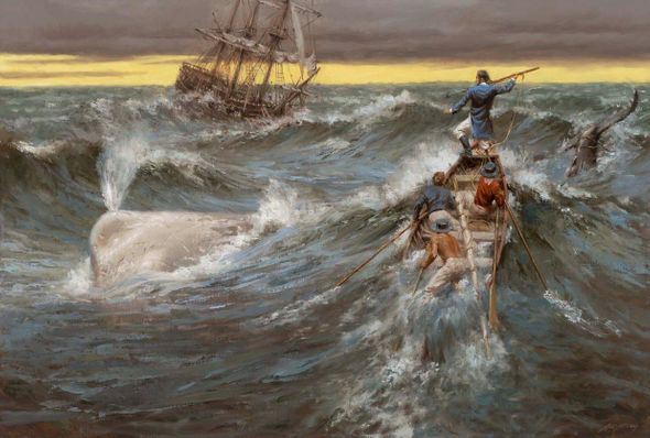 """Andy Thomas Artist Signed and Numbered Limited Edition Canvas Giclee:""""Moby Dick"""""""