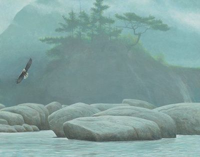 "Robert Bateman Hand Signed and Numbered Limited Edition Giclee Canvas:""Inside Passage - Bald Eagle"""