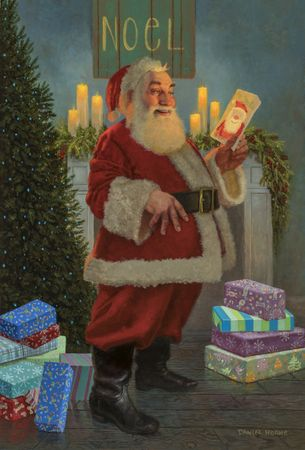 """Daniel Horne Artist Signed Limited Edition Canvas Giclee:""""A Gift for Santa"""""""