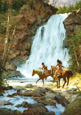 "Howard Terpning 90th Birthday Series Limited Edition Canvas Giclee:""Crossing Below the Falls"""