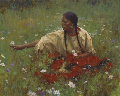 "Howard Terpning Artist Signed Limited Edition Canvas Giclee:""Beauty in the Field"""