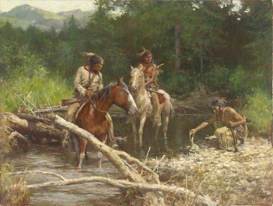 """Howard Terpning Artist Signed Limited Edition Canvas Giclee:""""Blackfeet Scouts in the Flathead Valley"""""""
