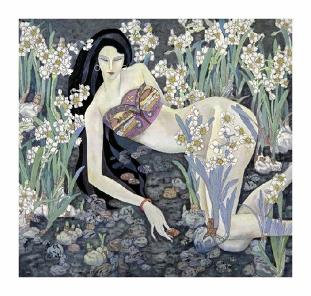 "Hua Long Fine Art Open Edition Giclée:""Goddess of Flowers Series: No. 8"""