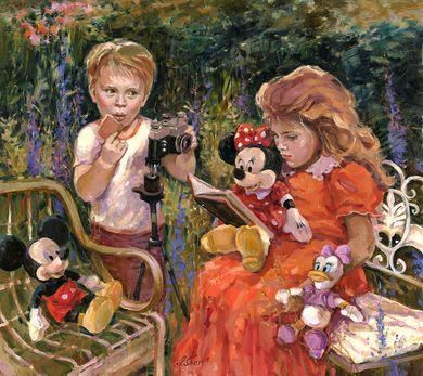 """Irene Sheri Signed and Numbered Limited Edition Hand-Embellished on Hand-Textured Canvas:""""Reading to Minnie"""""""