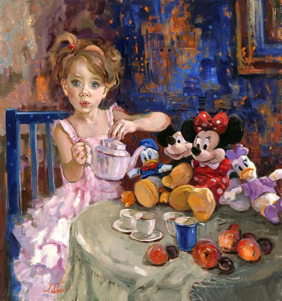 """Irene Sheri Signed and Numbered Limited Edition Hand-Textured Giclée on Canvas:""""Would You Like Some Tea?"""""""