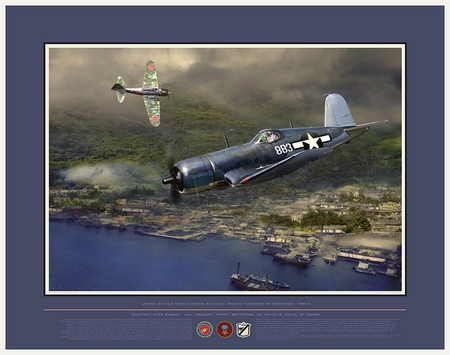 "Jack Fellows Hand Signed and Numbered Limited Edition: ""Gunfight Over Rabaul  (F4U Corsair)"""