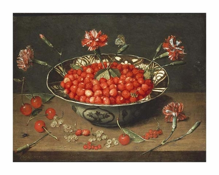 "Jacob Van Hulsdonck Fine Art Open Edition Giclée:""Strawberries in a Bowl"""