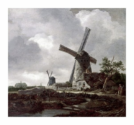 "Jacob Van Ruisdael Fine Art Open Edition Giclée:""Landscape with Windmills Near Haarlem"""