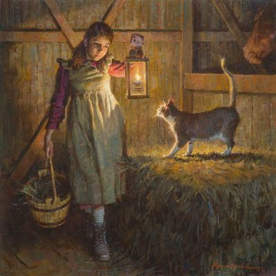 "Morgan Weistling Artist Signed Limited Edition Canvas Giclee:""Barn Cat"""